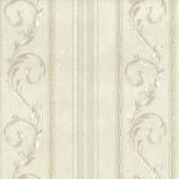 white scrolls stripes vintage wallpaper, off-white, glazed, textured, Italy
