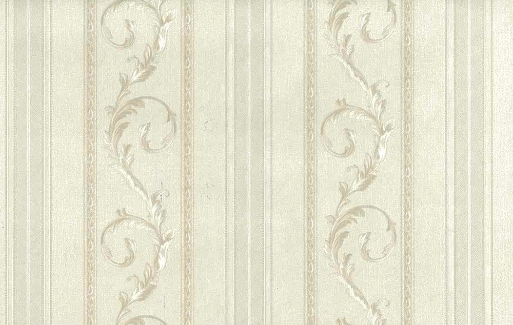 white scrolls stripes vintage wallpaper, off-white, glazed, textured, Italy
