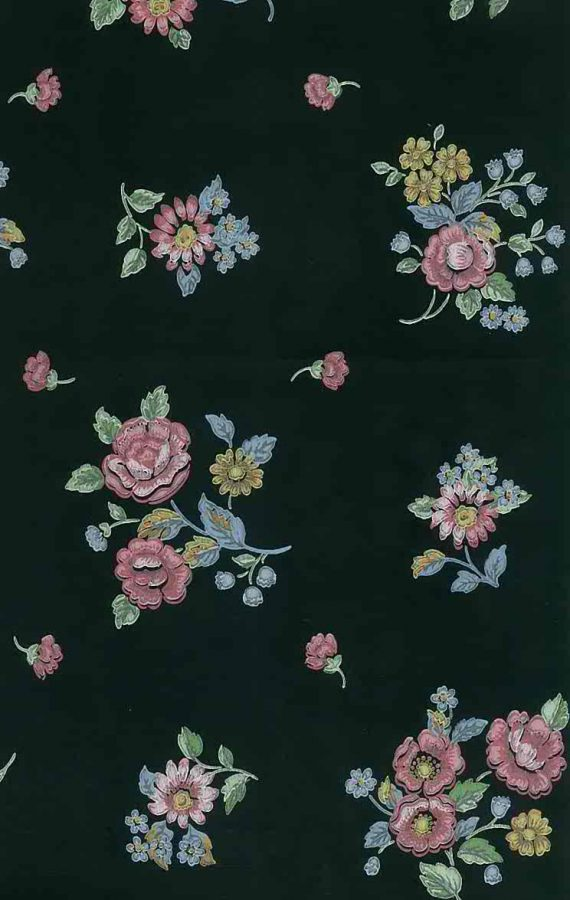 cottage style black wallpaper, pink, blue, yellow, green