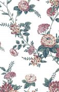 pink cottage flroal vintage wallpaper, off-white, green leaves, yellow, peonies