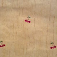 Vintage wallpaper cherry clusters, crackle finish, red, orange, green, beige
