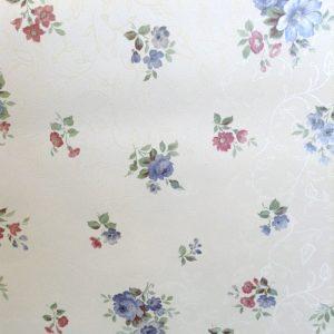 wallpaper floral satin, white, blue, pink
