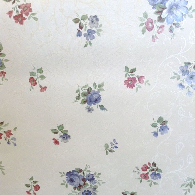 wallpaper floral satin, white, blue, pink