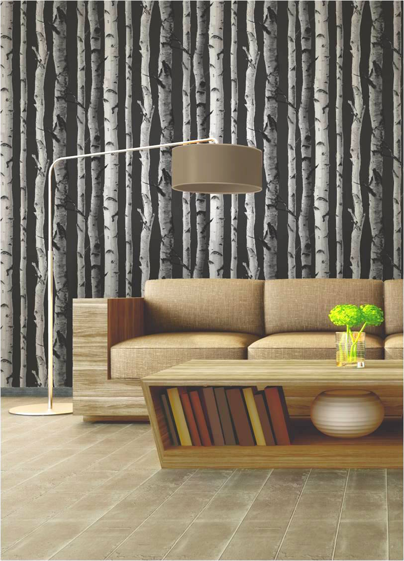 Birch Tree Wallpaper, trees, black, white