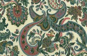 Waverly Jacobean Vintage Wallpaper in Cream, Green, & Pink
