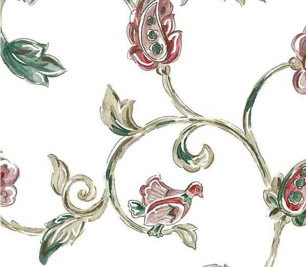 Jacobean Floral Vintage Wallpaper with Green, Beige & Red on White