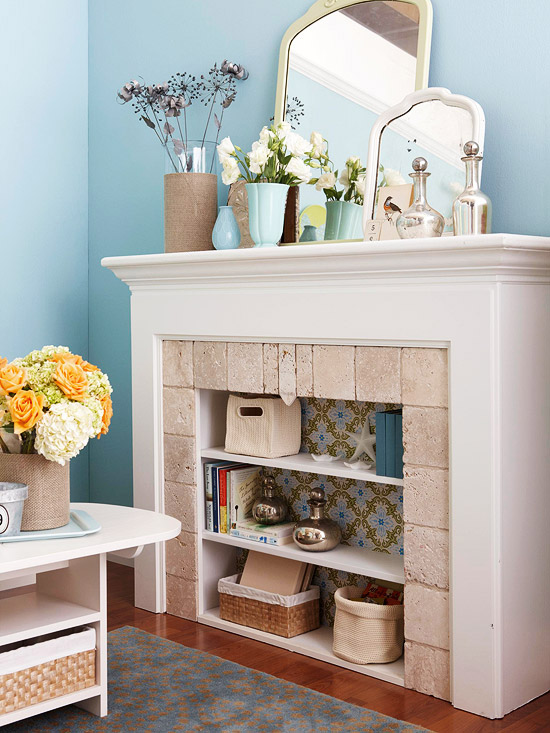Unused Fireplace becomes Wallpapered Book Shelves!
