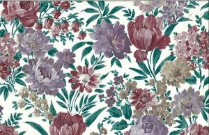 Lush Floral Vintage Wallpaper in Lavender, Green, Cranberry & Taupe