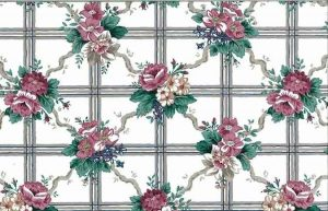 Lattice Waverly Floral Vintage Wallpaper in White, Taupe, Rose & Green.