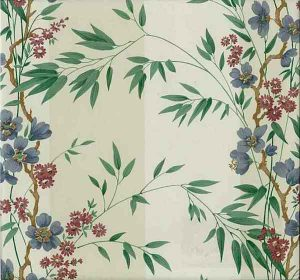 Tropical Palm Vintage Wallpaper in Cream, Green, Blue & Red