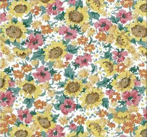 Sunflowers Vintage Wallpaper in yellow, pink, green, & orange