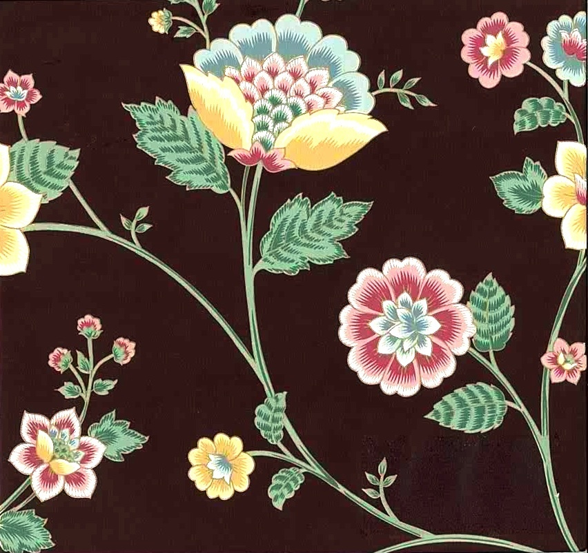 Floral Paisley Vintage Wallpaper in Maroon, Teal, Pink, Green, & Yellow