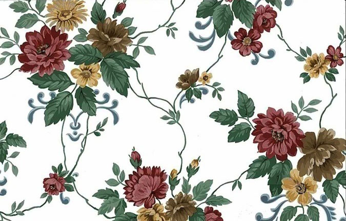 Dahlias Vintage Floral Wallpaper Maroon Red Brown White 24759