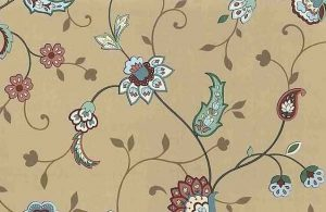 Vintage Paisley Floral Wallpaper in Taupe, Sage, Rust & Teal