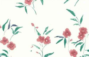 Vintage Wallpaper pink floral, Off-White, green