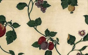 Vintage Ivy Vines Wallpaper with Fruit on Cream