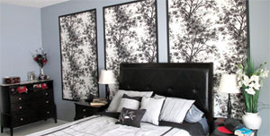Framed wallpaper as a headboard