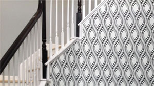 Geometric wallpaper pattern on stairway