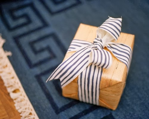 Grasscloth Wallpaper used as Gift Wrap
