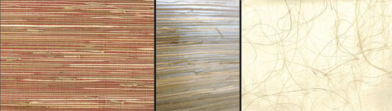 3 samples of grasscloth wallpaper patterns