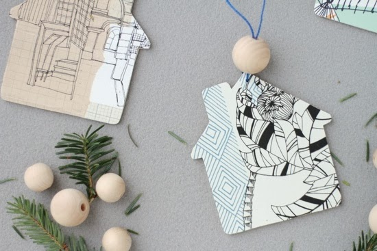 Holiday Ornaments using Wallpaper