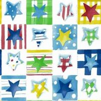 Stars Vintage Wallpaper Primary Colors, red, blue, yellow, green