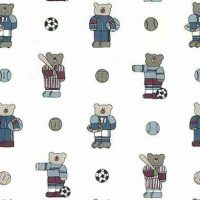 Sports Bear Vintage Wallpaper in Blue & Red on White