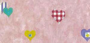 Pink Hearts Vintage Wallpaper on a Pink Faux Finish Background