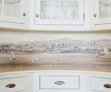 Subtle Nautical Wallpaper Border Under the Cabinets!