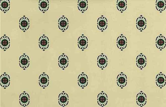 Arts Crafts Medallion Vintage Wallpaper in Cream, Green, & Red Medallions