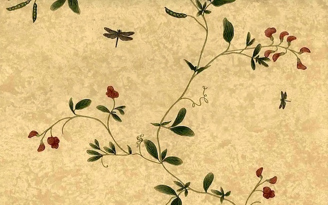Vintage Raymond Waites Floral Wallpaper in Yellow Faux Finish