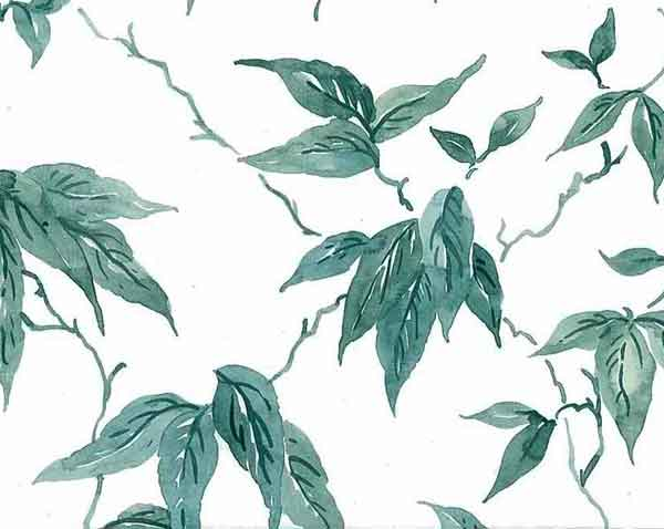 Vintage Leaves Wallpaper with Green Vines on White