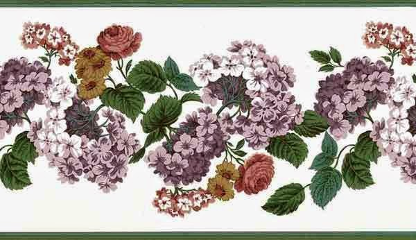 Purple Phlox Floral Vintage Wallpaper Border