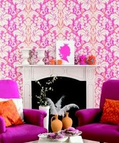 Radiant Orchid and Pink Damask Wallpaper