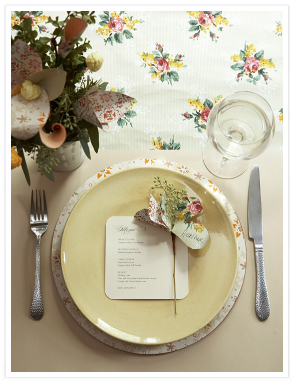 Wedding Place Setting using Vintage Wallpaper