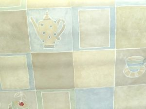 Vintage Plaid Teapots Wallpaper in Taupe, Blue, Cream, & Green