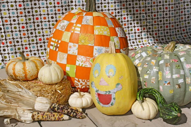 Wallpaper Pattern Cut-outs used for fall decorating with pumpkins!