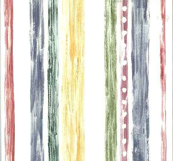 Primary Striped Vintage Wallpaper with Watercolor Look