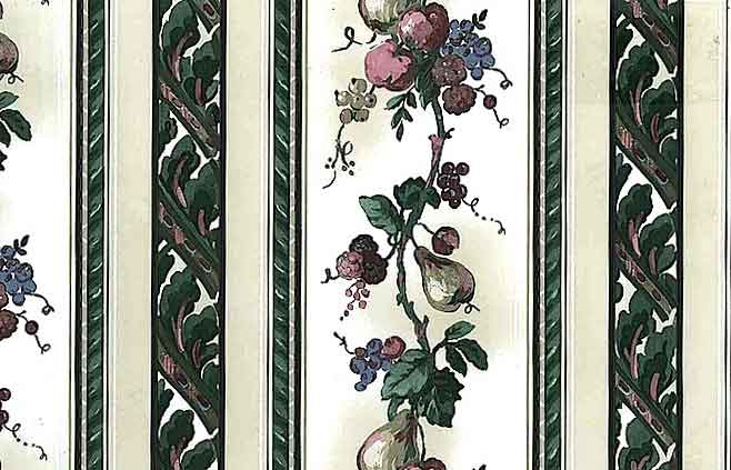 Fruit Floral Striped Vintage Wallpaper in Green & Purple on Cream