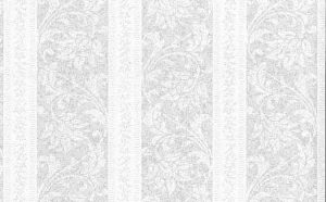 Vintage Carey Lind Striped Wallpaper in a Silver Paisley Floral Design