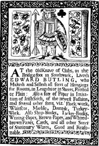 1690 Trade Card for Wallpaper