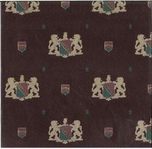 Vintage Coat of Arms Wallpaper Rolls, Maroon, Gold Glaze