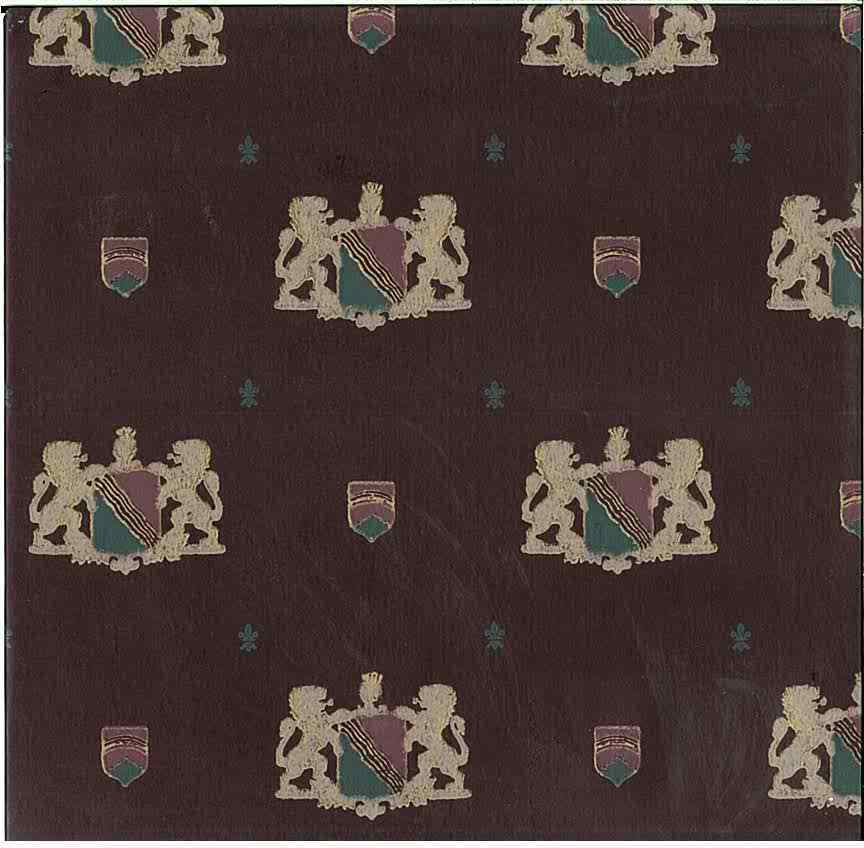 Vintage Coat of Arms Wallpaper Rolls, Maroon, Gold Glaze