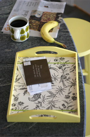Vintage Wallpaper as a Tray Liner