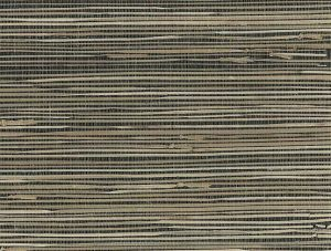 Black Beige Natural Grasscloth Wallpaper