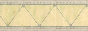 Architectural vintage wallpaper border, silver, gray, yellow, triangles, circles, Regency, textured