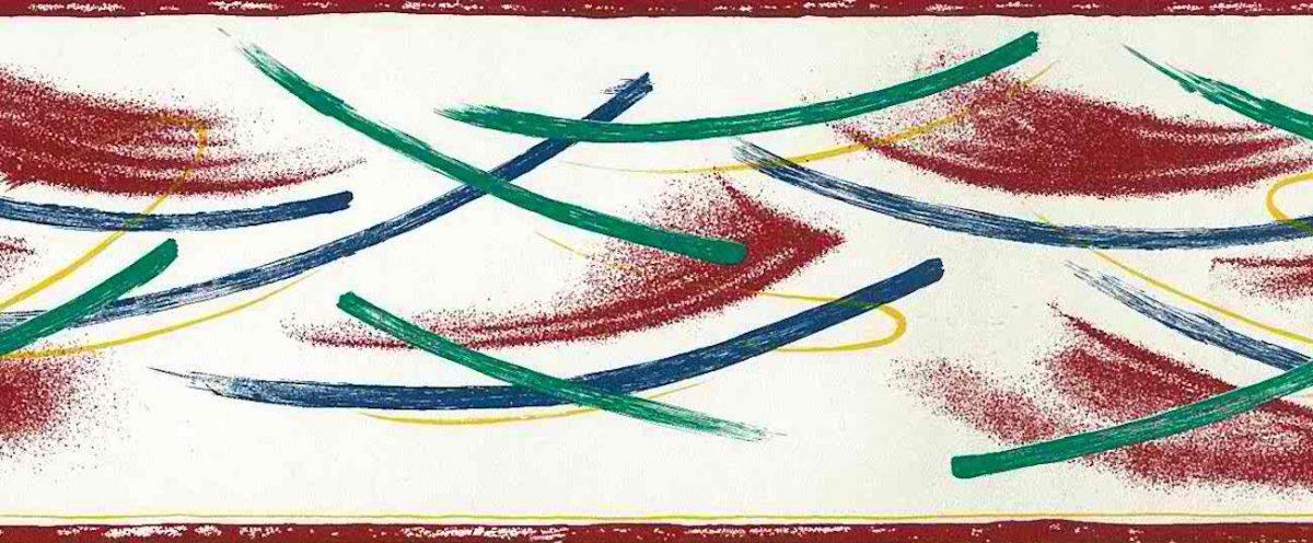 brushstrokes vintage wallpaper border, modern, contemporary, red, blue, green, yellow, white