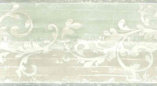 beige scroll vintage wallpaper border,green,cream,textured