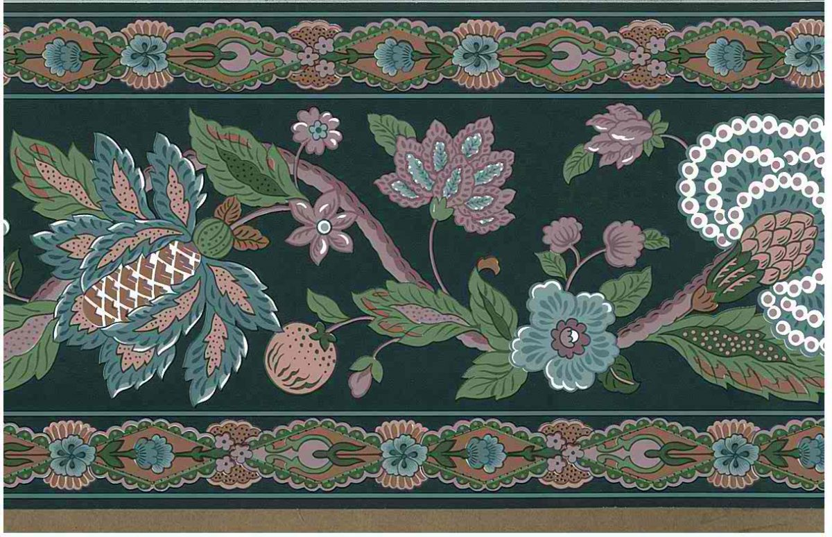 paisley floral vintage wallpaper border, stylized flowers, green, rose, pink, white