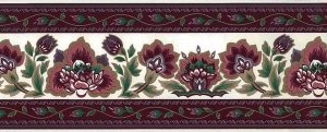 Waverly magenta vintage wallpaper border, taupe, cream, green, dining room, bedroom, kitchen